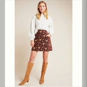 Anthropologie hutch floral cord mini skirt